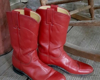 1980's Vintage Justin Roper Red Boots, Women's size 6.5B