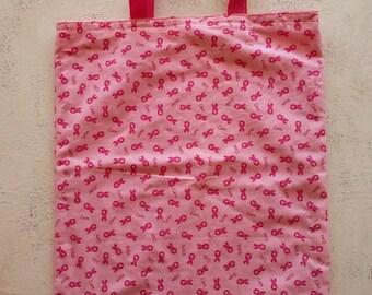 Pink Ribbon Tote, Breast Cancer Awareness, Breast Cancer Tote, Pink Ribbon Bag, Pink Tote, Book Bag, Grocery Bag