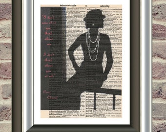 Coco Chanel Vintage Mounted Art Print. An original antique, victorian,dictionary book page. vintage