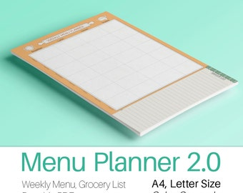 MEAL PLANNER Printable PDF A4 Letter size Menu Cooking Food Organizer and Shopping and Grocery list. Printable food list. Instant Download.