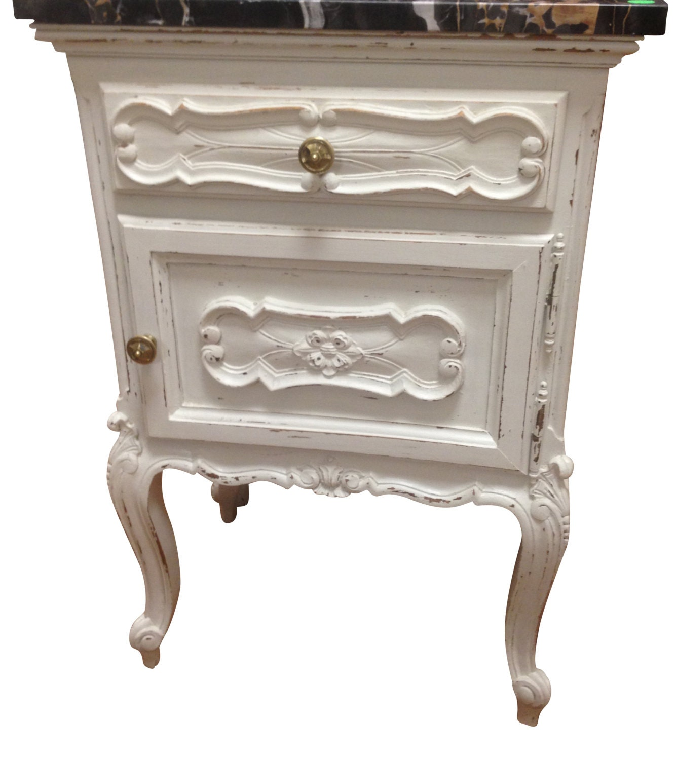 Pair Of White Shabby Chic Distressed Nightstands/Side