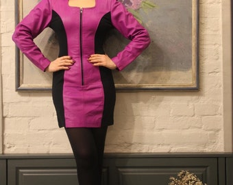 Pink and black color block Leather Mini Dress