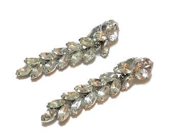 Crystal Dangle Earrings, Shoulder Duster Earrings, Rhodium Silver, Hollywood Regency, Signed Kramer, Bridal Special Occasion, 1950s, Vintage