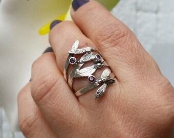Twig silver ring, Leaf ring, Twig jewelry, Twig ring, Branch ring, Tree branch ring, Branch silver ring, Amethyst ring, Febuary ring, Gift