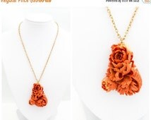 25% OFF STOREWIDE SALE Gorgeous intricately carved flower cluster shaped coral terracotta orange colored celluloid pendant on a gold tone ch