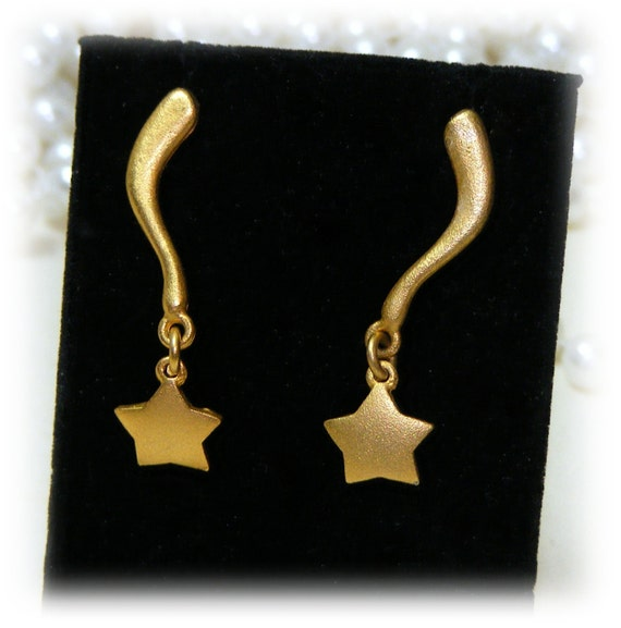 Matte Gold Falling Star Earrings . . Never Worn