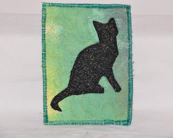 Fiber Art, Wall Hanging, cat Art Quilt, fiber art, Miniature, home decor, abstract art quilt, wall art quilt, contemporary, cat shilouette