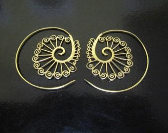 Brass Earrings, Brass Tribal Earrings, Tribal Earrings , Earrings, belly dance, spiral earrings