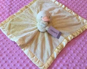 Carter's Yellow Duck Duckie Security Blanket Lovey - Monogrammed