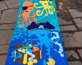 Octopus Pirate Beach Towel Personalized Beach Towel