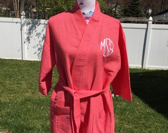 Monogrammed Waffle Kimono Short Robe Square Pattern - Personalized -  CORAL - Wedding Bride Pool Spa Robe
