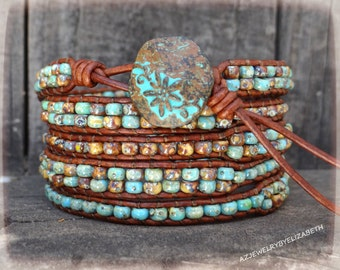 Seed Bead Leather Wrap Bracelet, Leather And Seed Bead Wrap Bracelet.