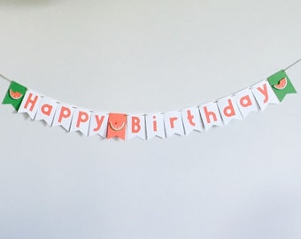 Handmade Medium Birthday Banner - Watermelon Theme
