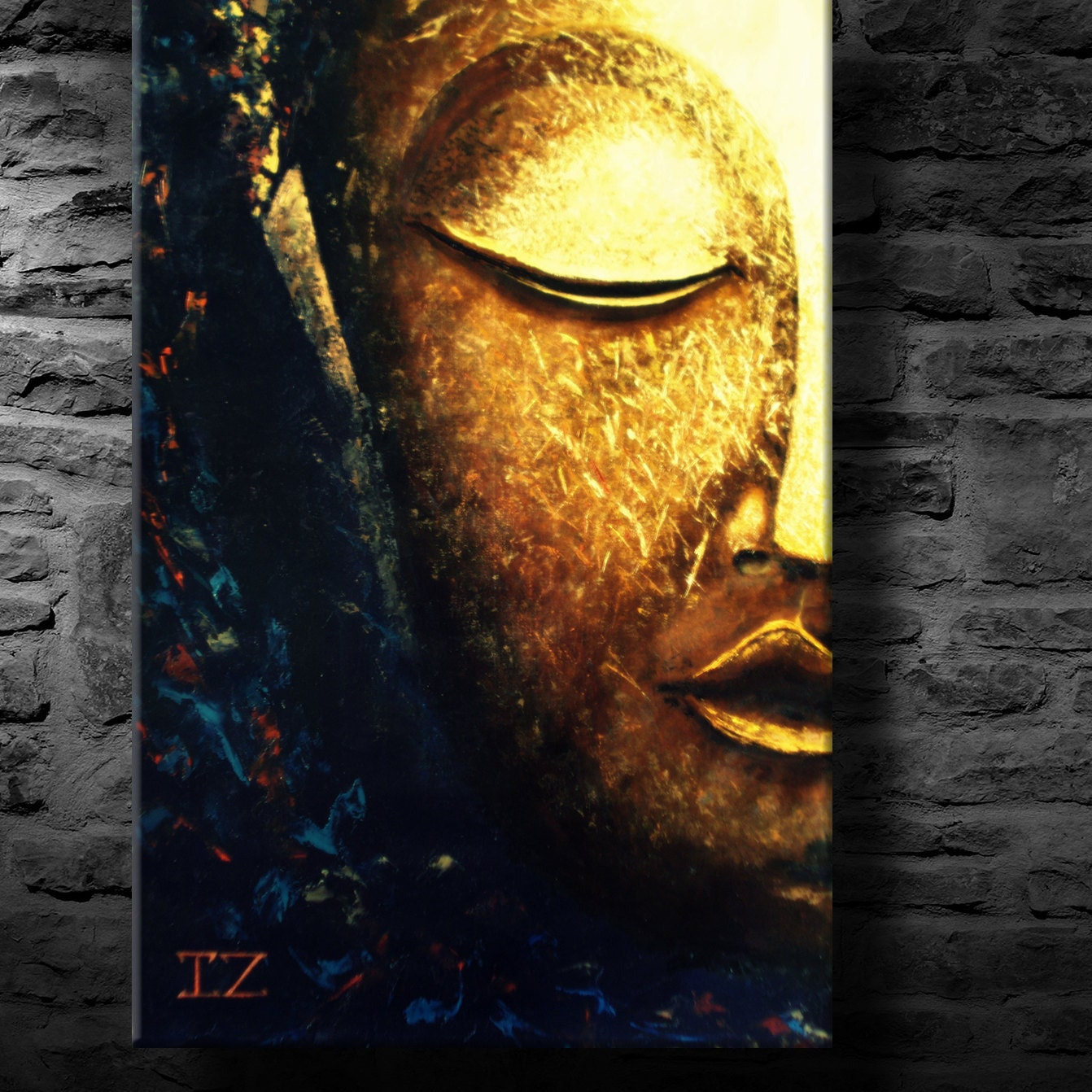 oil painting modern art glowing buddha canvas. Black Bedroom Furniture Sets. Home Design Ideas