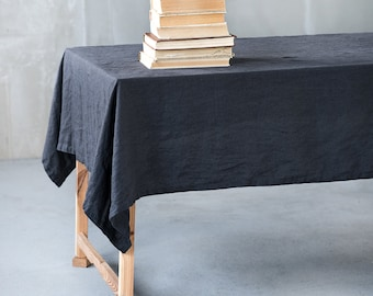 Charcoal Linen Tablecloth. Washed Charcoal Large Handmade Linen Tablecloth
