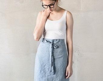 Linen half apron / Washed handmade midi linen apron in bluish grey