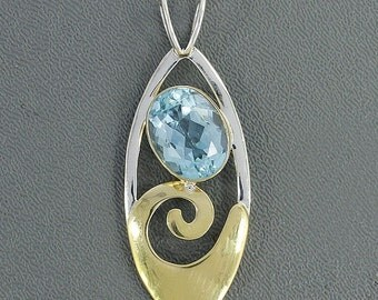 On Sale Swiss Blue Topaz Pendant- 925 Sterling Silver Gold Overlay Two Tonw Bezel Pendant- December Birthstone Pendant- Topaz Jewelry