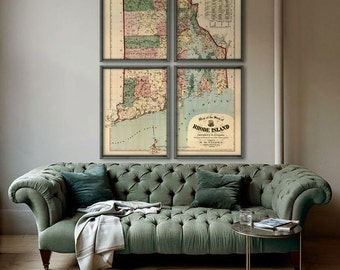 """Rhode Island map 1880, old map of Rhode Island state, 4 sizes up to 48x64"""" in 1 or 4 parts, RI map, also in blue - Limited Edition - Print 5"""