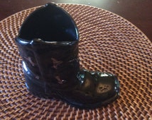 Litte black cowboy boot Vase with gold accents