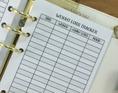 Personal Weight Loss Tracker printed planner insert - weight tracking - fitness goals - daily weigh in - #246