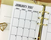 Personal 2017 Monthly printed planner calendar - Mo2P - month on 2 page - monthly calendar - #202-17