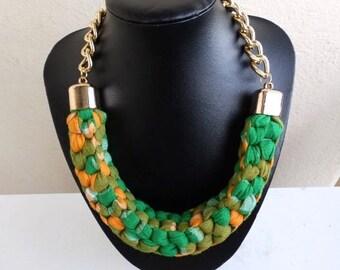 Bespoke Montserrat National Chunky Fabric Necklace Gold Finish