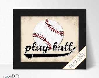 Vintage Distressed Looking Play Ball baseball decor for Baby Boy nursery tball teen tween guy sports bedroom printable digital download