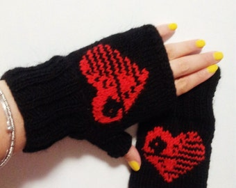 Mitts Death Star, Star Wars, knitted gloves, fingerless gloves, gift, heart, love, winter, handmade