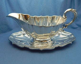 Sterling Gravy Boat with Under Plate, Vintage Frank W. Smith Sterling Silver Gravy Boat, 350 Grams, Chippendale Pattern