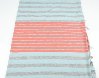 Stripe Knit Jersey Fabric Coral Pink and Light Blue 3/4 Yard