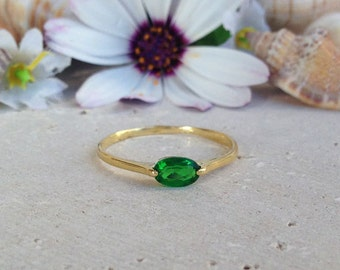 20% off-SALE!! May Birthstone Jewelry - Emerald Ring - Thin Stackable Ring - Gemstone Ring - Stacking Ring - Green Ring - Gold Ring