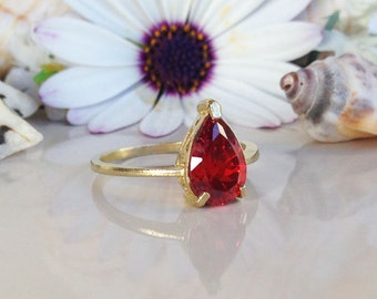 20% off-SALE!!! Garnet Ring - January Birthstone - Teardrop Ring - Gold Ring - Prong Ring - Gemstone Ring - Red Ring - Garnet Jewelry