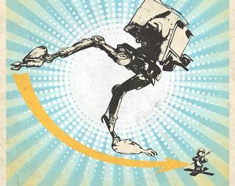 Star Wars inspired AT-ST vs Ewok Kicket! art print