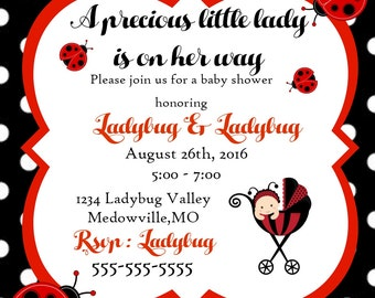 Ladybug Baby Shower Invitation,Digital Ladybug Baby Shower Invitation,Custom Ladybug Baby Shower Invitations,Baby Shower lady Bug Invites