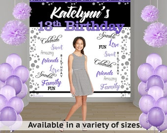 Radiant Birthday Party Personalized Photo Backdrop -Milestone Photo Backdrop- 13th Birthday Photo Backdrop-Custom Backdrop