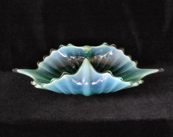 Fostoria Heirloom Candy Dish Basket Green Opalescent