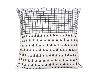 Throw Cushion Black and white Pillow  Cushion cover Cotton Geometric Black Triangles pattern Black Net pattern Scandinavian Cute pillow