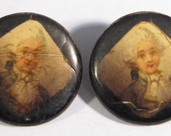 Antique General Fersen Lithograph Button Pair Celluloid Covers 1800s picture Buttons