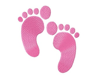 Baby Footprints Solid  Fill Machine Embroidery 4 Sizes DESIGN NO. 580
