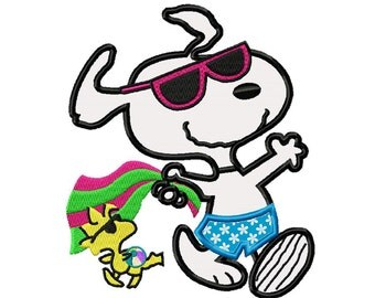 Snoopy at the Beach...Applique Machine Embroidery DESIGN NO. 662