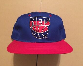 Vintage deadstock new jersey nets snapback hat cap 90s jersey logo 80s brooklyn NY