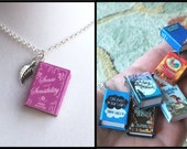 Sense And Sensibiliy with Tiny Leaf Charm -Micro Mini Book Necklace