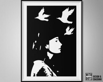 Bird Woman - Art Print to print yourself - Instant Download - Black/White - 8x10 and A3 - JPG/PDF- 4 digital files - Poster birds free woman