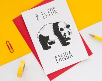 Panda Card / Panda Bear / Animal Alphabet Card / Animal Alphabet / Blank Greeting Card / Notecard / Animal Card / Panda Birthday Card