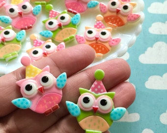 Owls - flat back cabochons - decoden cabochons - kawaii owls  - owl embellishments - birthday - birds - owl cabochons - cabochon mix