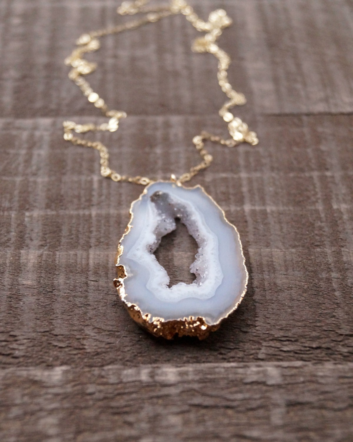 Agate Slice Necklace Agate Necklace Agate Druzy Raw Stone