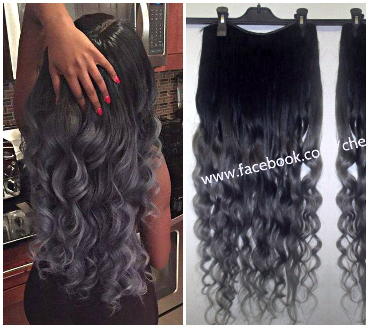 1b off black into grey steel hair extensions dip dye 8a remy zoom pmusecretfo Images