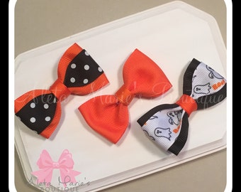Set of Three (3) Tuxedo Style Bows, Simple Hair Bow, Halloween Hair Bows, Baby Hair Bows, Girls Hair Bows, 3 inch Boutique Hair Bow