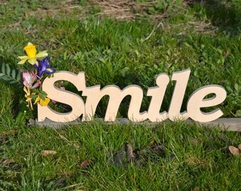 Wooden words, Wooden sign, Smile, wooden letters, wooden signs for home, Wooden word, Wood sign wall hanging