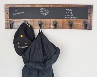 Coat Rack, Rustic Coat Rack, Hat Rack, Coat Rack with chalkboard, Wood Towel Rack With Chalkboard